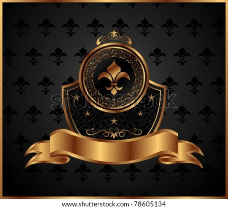 Illustration royal golden frame with fleur de lis - vector - stock vector