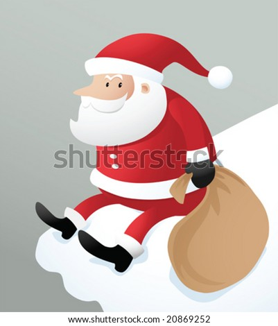 Illustration santa sitting on the ice roof - stock vector