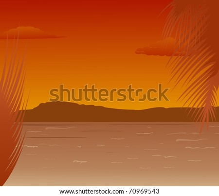 Illustration sea landscape with mountains sunset - vector
