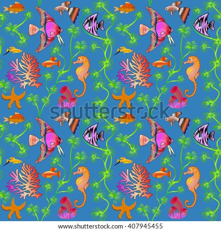 illustration seamless pattern marine life with colorful fish, corals, algae - stock vector
