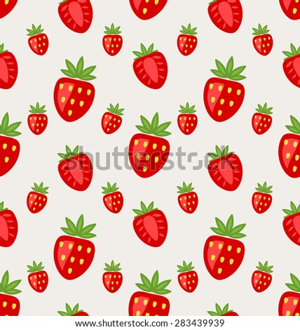 Illustration Seamless Pattern of Ripe Strawberry, Retro Wallpaper - Vector - stock vector