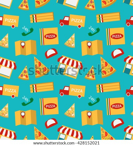 Illustration Seamless Pattern with Slices of Pizza and Colorful Icons Service of Delivery of Pizza - Vector - stock vector