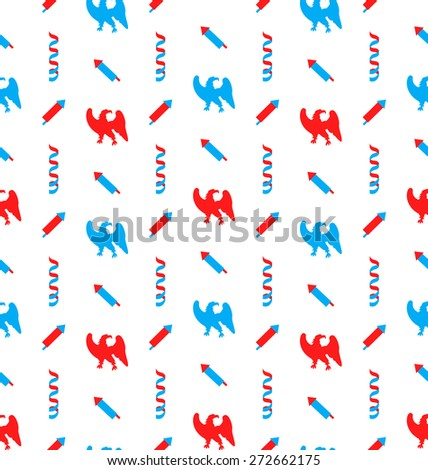 Illustration Seamless Pattern with Traditional Elements (Majestic Eagles, Serpentine, Petards), US National Colors - Vector - stock vector