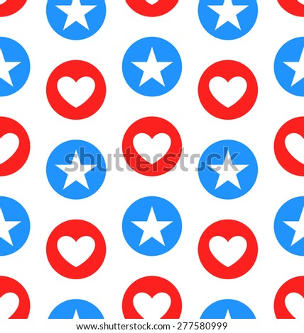 Illustration Seamless Texture Star and Heart for Independence Day of America, US National Colors - Vector - stock vector