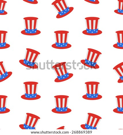Illustration Seamless Texture with Uncle Sam's Top Hat for American Holidays - Vector - stock vector