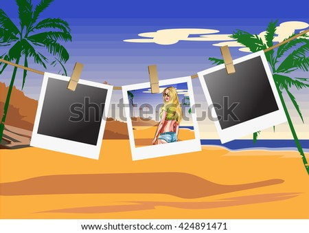 Illustration seashore with frames for photos