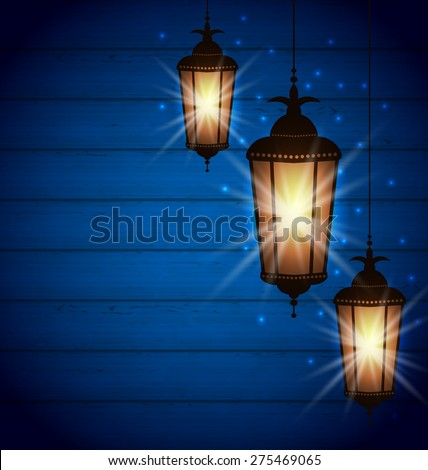 Illustration Set Arabic Lamps for Holy Month of Muslim Community, Wooden background - Vector - stock vector