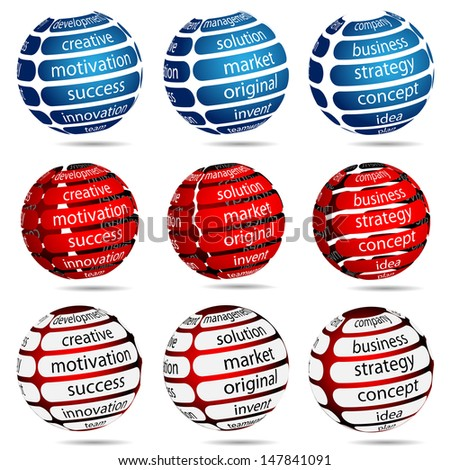 Illustration Set Business Ball with Inscription on White Background. Vector.  - stock vector