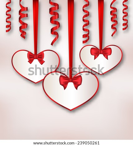Illustration set card heart shaped with silk ribbon bows and paper serpentine for Valentine Day - vector - stock vector
