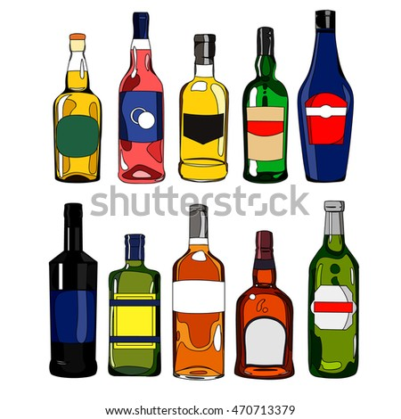 Illustration set cartoon colorful hand drawn bottles with various alcoholic beverages and different design, for bar restaurant menu or poster, isolated on white background, vector eps 10