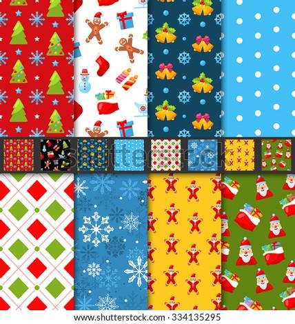 Illustration Set Christmas Seamless Patterns, Winter Decoration Wallpaper - Vector - stock vector
