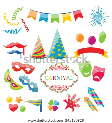Illustration set colorful objects of carnival, party, birthday - vector - stock vector