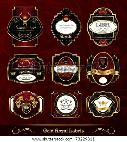 Illustration set dark gold-framed labels - vector - stock vector