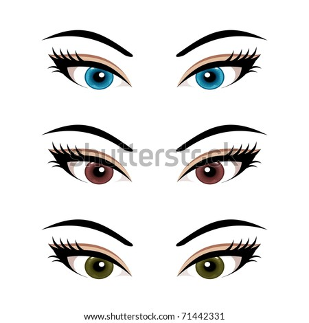 Illustration set female eyes isolated (3) - vector - stock vector