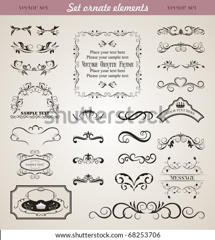 Illustration set floral ornate design elements - vector - stock vector