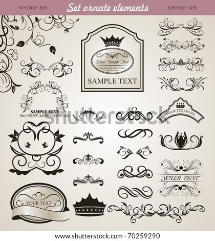 Illustration set floral ornate design elements (3) - vector - stock vector
