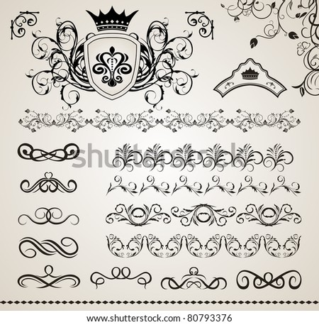 Illustration set floral ornate design elements (5) - vector - stock vector