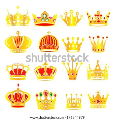 illustration set gold crowns  - stock vector