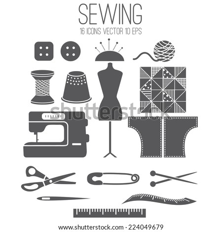 Illustration set icon of sewing .Vector - stock vector