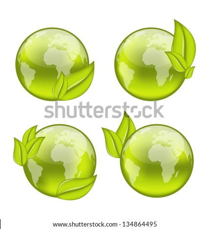 Illustration set icon world with eco green leaves isolated on white background - vector - stock vector