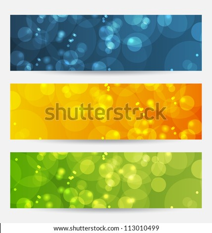 Illustration set of abstract backgrounds with bokeh effect - vector - stock vector
