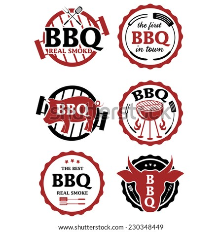 Illustration set of BBQ labels. Vector - stock vector