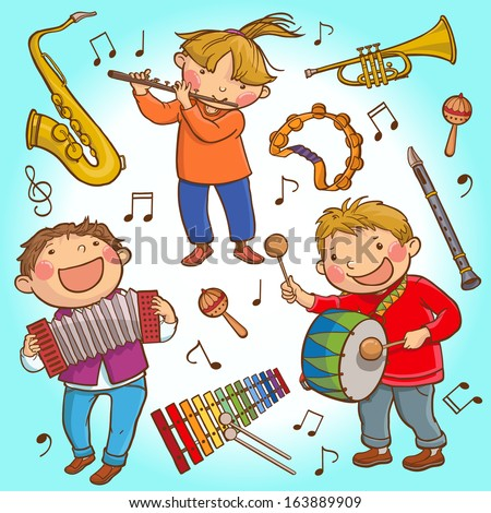 Illustration SET of Children and Musical instruments . Children illustration for School books, pictures book, magazines, advertising and more. Separate Objects. VECTOR. - stock vector