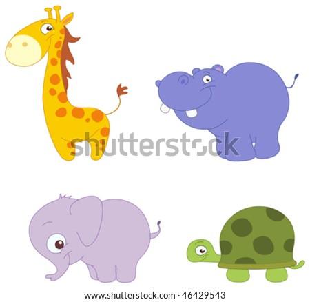 Illustration Set of cute animals: giraffe, hippopotamus, elephant and turtle - stock vector