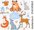 Illustration set of cute animals of the forest - stock vector