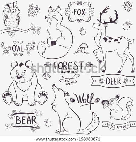 Illustration set of cute animals of the forest with design names - stock vector