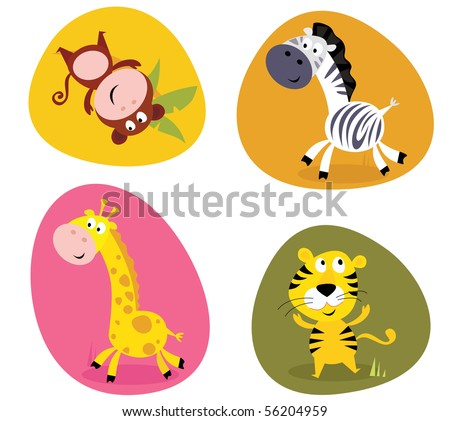 Illustration set of cute safari animals: monkey, tiger, giraffe and zebra. Vector cartoon illustration of monkey, tiger, giraffe and zebra