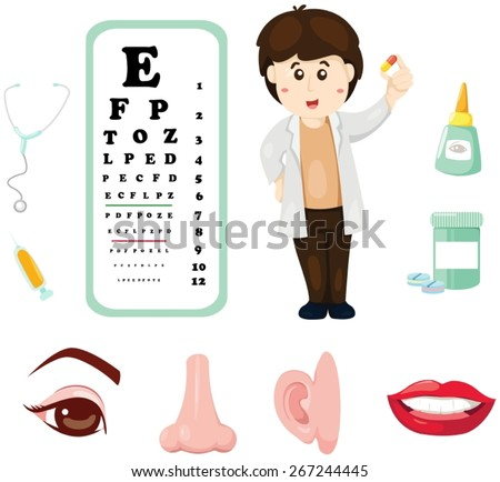 illustration set of doctor with eye chart ,medicine and part of body