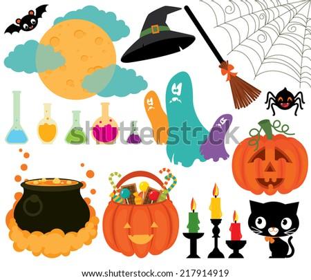 Illustration set of Halloween symbols on a white background/Set of magical symbols of Halloween/Celebratory Set items symbolizing Halloween - stock vector