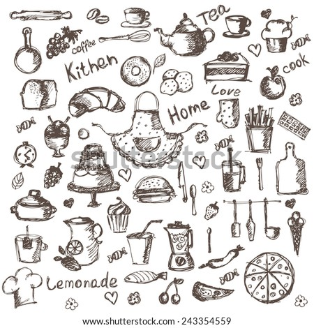 Illustration set of hand drawing kitchen and food icons. Vector - stock vector