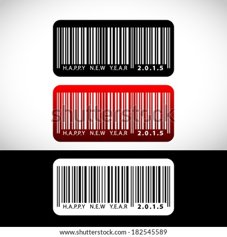illustration set of 2015 Happy New Year greeting looks like a barcode - stock vector
