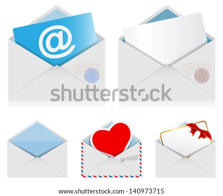 Illustration set of mail envelopes isolated on white background. Vector. - stock vector