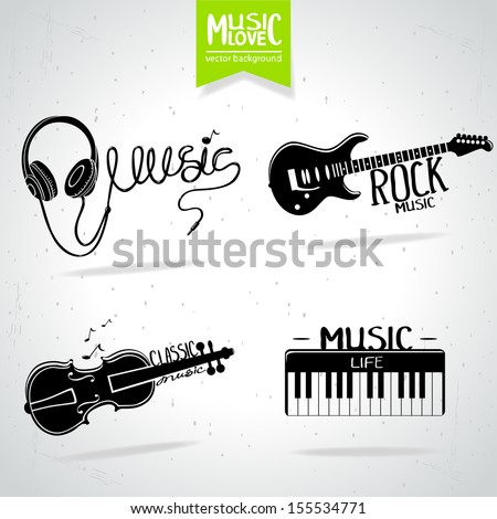 illustration set of music icons - stock vector