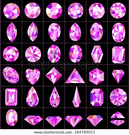 Illustration set of pink gems of different cuts and shapes - stock vector