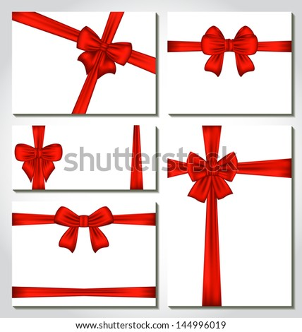 Illustration set of red gift bows for design packing - vector