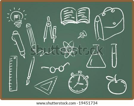 Illustration Set of school icons on chalkboard - stock vector