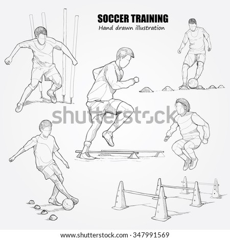 illustration set of soccer training.
