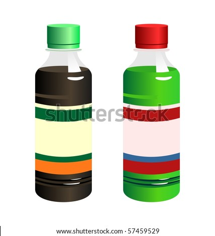 Illustration set of two bottle with label isolated on white background - vector - stock vector