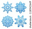 Illustration set of variation snowflakes isolated - vector - stock vector