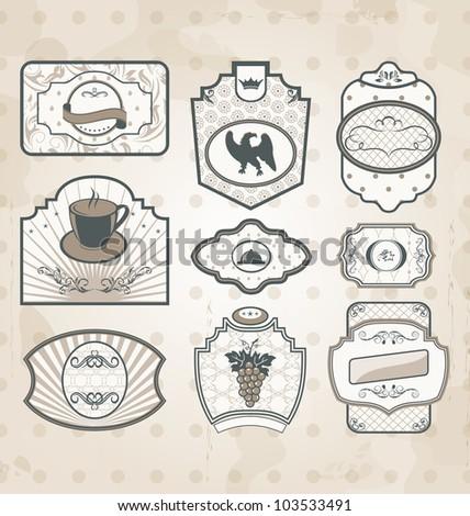 Illustration set of vintage ornate labels, decor design elements - vector - stock vector