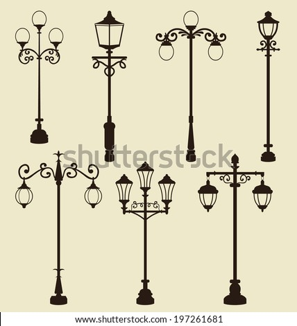 Illustration set of vintage various ornamental streetlamps - vector - stock vector