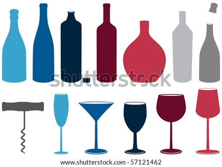 Illustration set of wine and liquor bottles, glasses and corkscrew. All objects and details are isolated and grouped. Colors and transparent background color are easy to customize. - stock vector