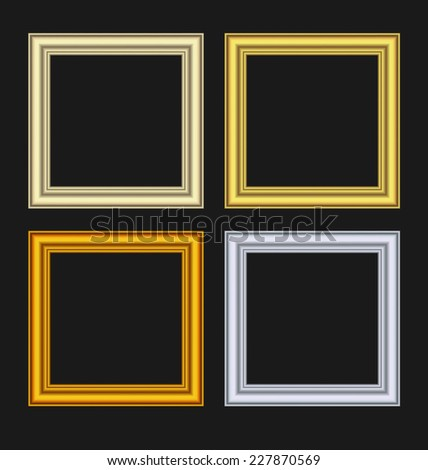 Illustration set picture frames isolated on black background - vector - stock vector