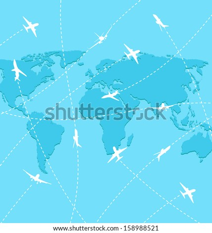 Illustration set planes on map background - vector