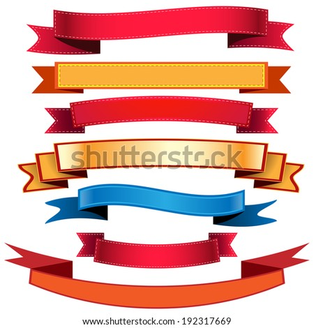 Illustration set Ribbons Flags. Icon. Vector. eps 10. - stock vector