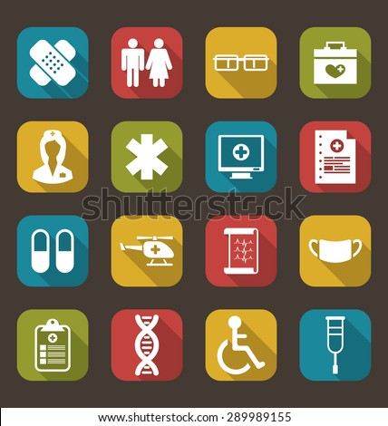 Illustration Set Trendy Flat Medical Icons for Web Design - Vector - stock vector